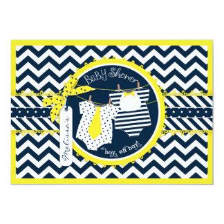 Yellow Tie & Bowtie Chevron Twin Boys Baby Shower Card