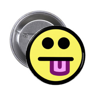 Yellow Tongue Out Smiley Face 6 Cm Round Badge
