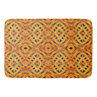 Yellow tribal shapes pattern bath mat