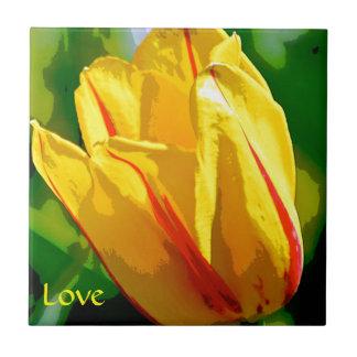 Yellow Tulip Love Art Small Square Tile