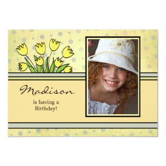 Yellow Tulips - Photo Birthday Party Invitation