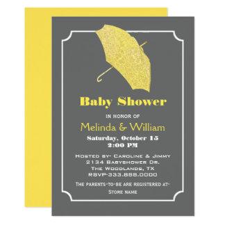 Yellow Umbrella Stylish Baby Shower Invitation