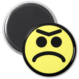 Yellow Unibrow Frown Smiley Face 6 Cm Round Magnet