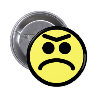 Yellow Unibrow Frown Smiley Face 6 Cm Round Badge