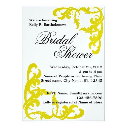 Yellow Victorian Flourish Filigree Bridal Shower Custom Invite