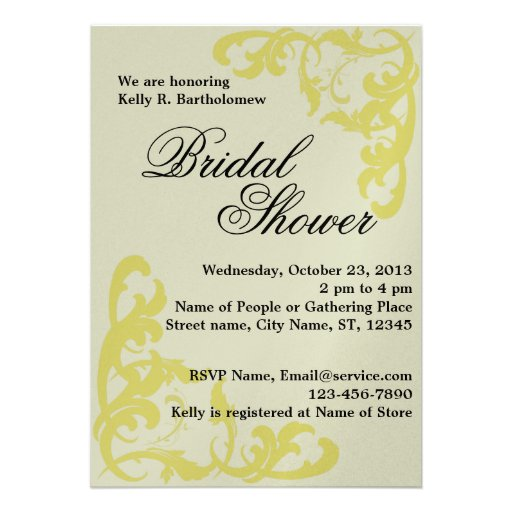 Yellow Victorian Flourish Filigree Bridal Shower Personalized Announcement