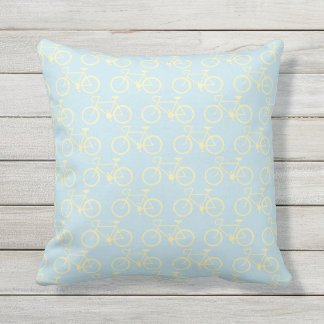 Yellow Vintage bike Throw Pillow