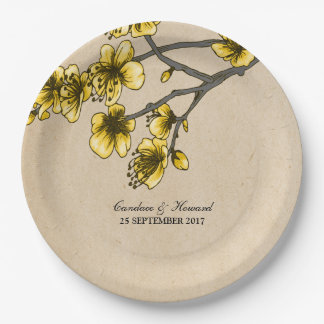 Yellow Vintage Cherry Blossoms Paper Plates