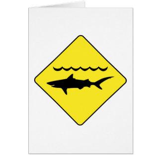 Yellow 'warning sharks' sign greeting card