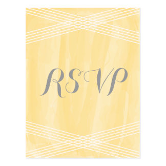 Yellow Watercolor Deco RSVP Postcard