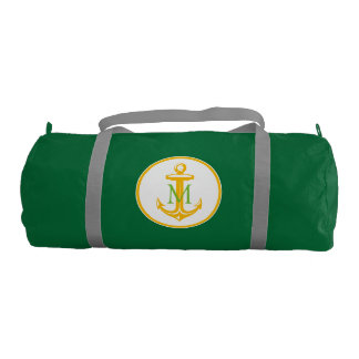 Yellow White Anchor and Monogram Gym Bag