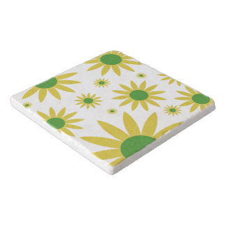 Yellow White And Green Spring Floral Pattern Trivet