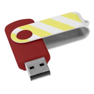 Yellow White Attention Warning Stripes Swivel USB 2.0 Flash Drive