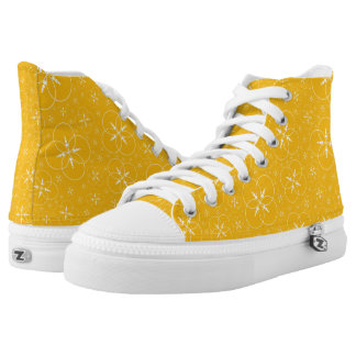Yellow White Crop Circle Printed Shoes