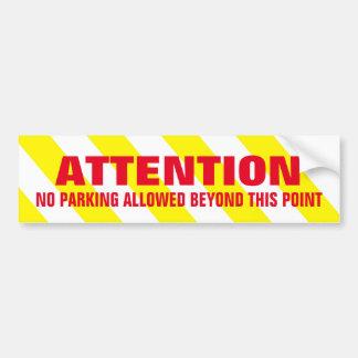 Yellow White Warning Stripes Attention No Parking Bumper Sticker