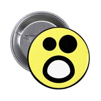 Yellow Whoa Open Mouth Smiley Face 6 Cm Round Badge