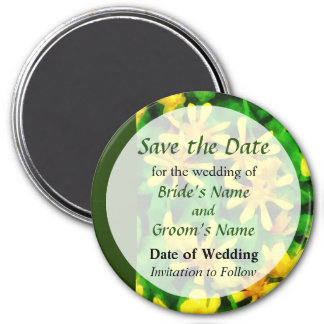 Yellow Wildflowers Save the Date 7.5 Cm Round Magnet