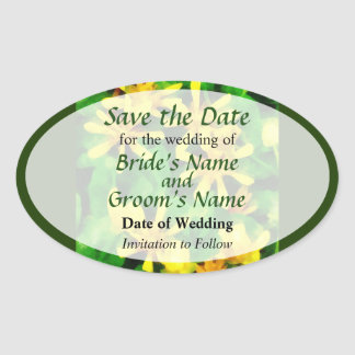 Yellow Wildflowers Save the Date Oval Sticker