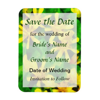 Yellow Wildflowers Save the Date Rectangular Photo Magnet