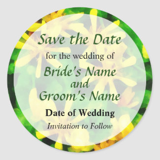 Yellow Wildflowers Save the Date Round Sticker