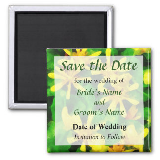 Yellow Wildflowers Save the Date Square Magnet