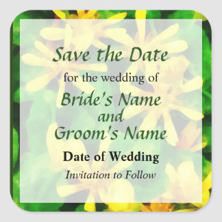 Yellow Wildflowers Save the Date Square Sticker