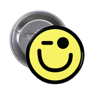 Yellow Winking Smiley Face Button