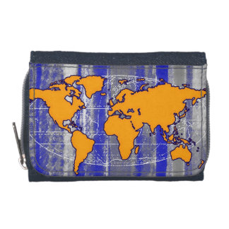yellow world map & stripes wallet