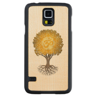 Yellow Yoga Om Tree of Life Carved Maple Galaxy S5 Case