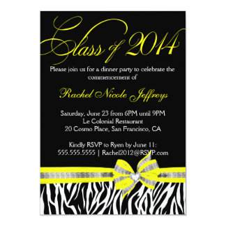 "Yellow Zebra 2014 Graduation Invitation 5"" X 7"" Invitation Card"