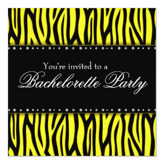 Yellow Zebra Diamonds Bachelorette Party Card