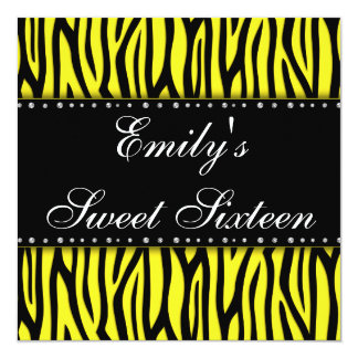 Yellow Zebra Diamonds Sweet 16 Birthday 13 Cm X 13 Cm Square Invitation Card