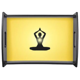 Yellow Zen Meditation Sunburst Serving Tray