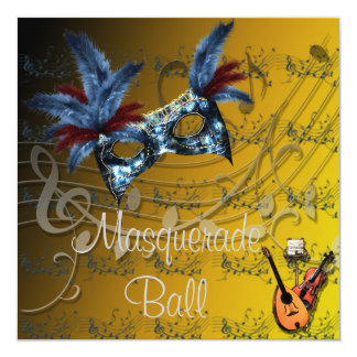 Yellows Colors Masquerade Ball Invitation