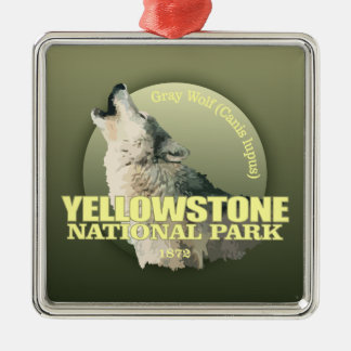 Yellowstone NP (Gray Wolf) WT Silver-Colored Square Decoration