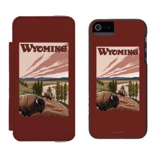 Yellowstone River Bison Vintage Travel Poster Incipio Watson™ iPhone 5 Wallet Case