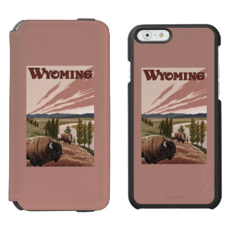 Yellowstone River Bison Vintage Travel Poster Incipio Watson™ iPhone 6 Wallet Case