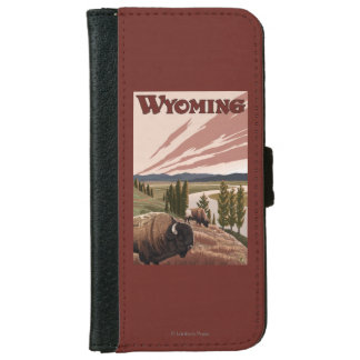 Yellowstone River Bison Vintage Travel Poster iPhone 6 Wallet Case
