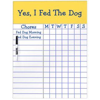 Yes I Fed The Dog Kids Weekly Chores Check List LG Dry Erase Board
