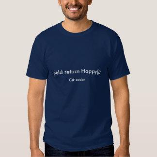 Yield Return Happy C# Coder Tshirts