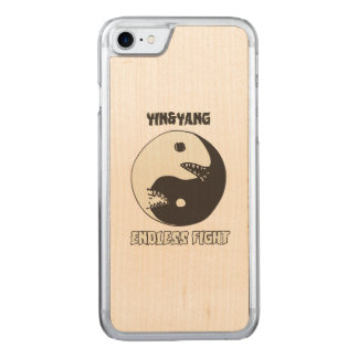 yin and yang endless fight cartoon style carved iPhone 8/7 case