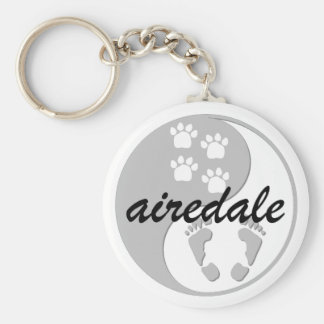 yin yang airedale basic round button key ring