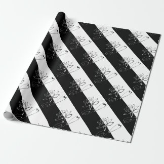 Yin Yang Black White Lotus Blossom Wrapping Paper