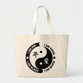 Yin Yang Brotherly Love Black White Peace Tote