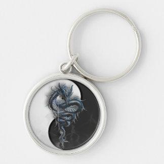 Yin Yang Chinese Dragon Round Key Ring