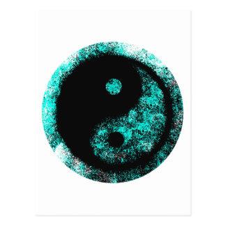 Yin Yang Cyan Black The MUSEUM Zazzle Gifts Post Card