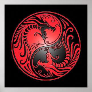Yin Yang Dragons, red and black Poster