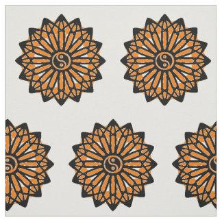 Yin Yang Fabric - Black, White, Orange