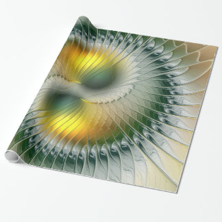 Yin Yang Green Yellow Abstract Colorful Fractal Wrapping Paper