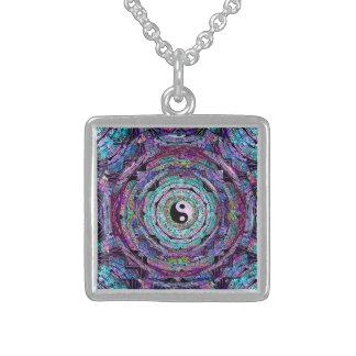 Yin Yang Mandala Purple Sterling Silver Necklace
